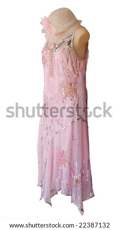 Female Mannequin in Sequined Dress isolated with clipping path - stock photo