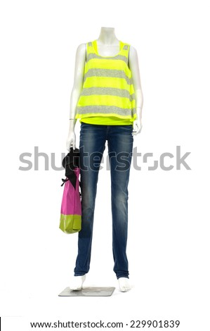 female mannequin in striped shirt and jeans with bag �white background  - stock photo