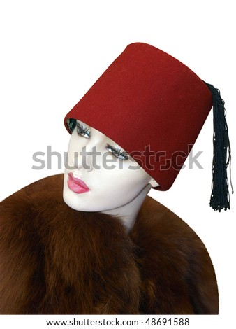 Female Mannequin Wearing a Fez isolated with clipping path - stock photo