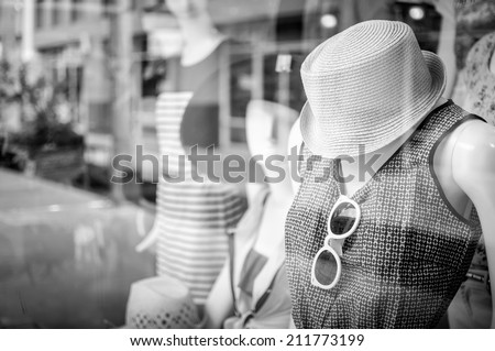 Female mannequins inside a fashion house, Black & White image - stock photo