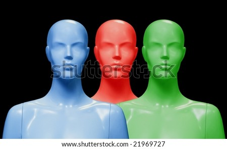 Female mannequins performed in three colors. Isolated on black background.