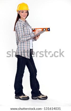 Female mason apprentice - stock photo