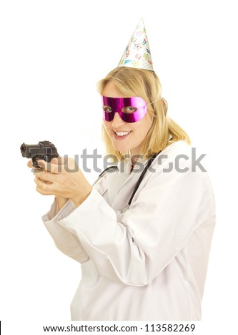 Female medical doctor with a gun