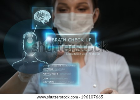 Female medical doctor working with virtual interface. Modern medical technologies concept - stock photo