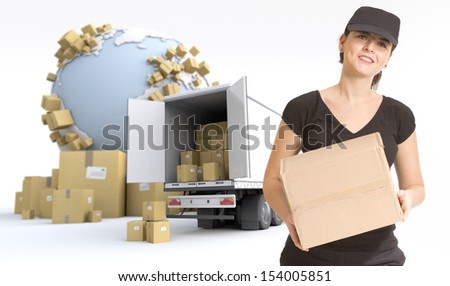 Female Messenger delivering a parcel in an international transport context. The Earth texture comes from the Nasa free of use images - stock photo