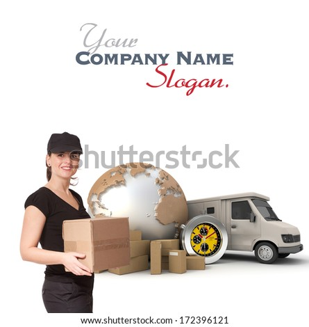 Female Messenger with a background composed of  a world map, packages, a chronometer and a van  - stock photo