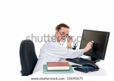 Female middle aged doctor with stethoscope at her desk, white background,  studio shot.