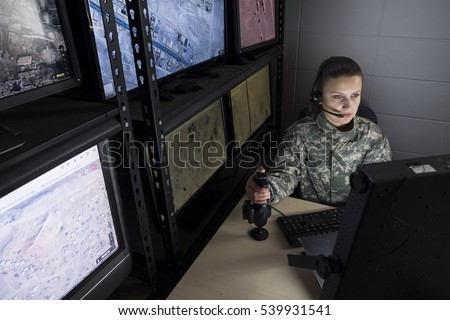 Female military drone operator, wide shot