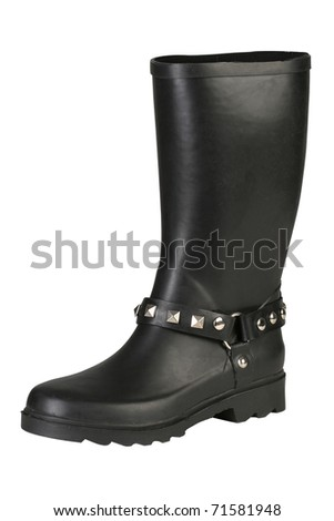 Female military rubber boots with studs - stock photo