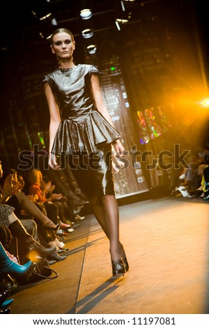 Female model at a fashion show at Serguei Teplov Collection (Russian Fashion Week) 08 - stock photo