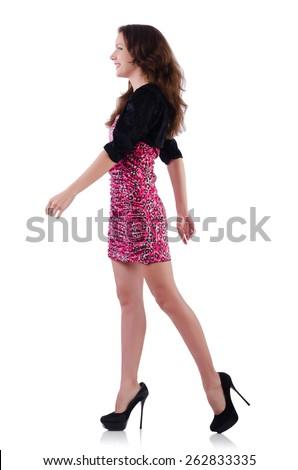 Female model isolated on white - stock photo