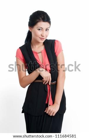 female model posing- isolated on white background. Fashion model posing at studio - stock photo