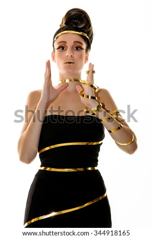 Female model posing with distinctive hairstyle - stock photo