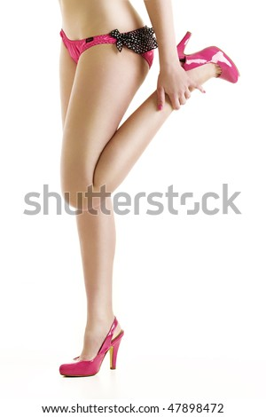 Female model with long legs and high heels