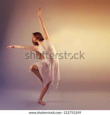 Female Modern Style Dancer Posing In Studio - stock photo