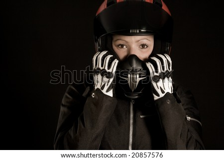 Female Motorcycle driver with Helmet