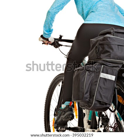 Female mtb cyclist  with saddlebag, isolated on white background. Studio shot. Rear view.