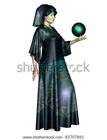 Female mystic in robes with arcane symbols holding a glowing cystal ball, 3d digitally rendered illustration - stock photo
