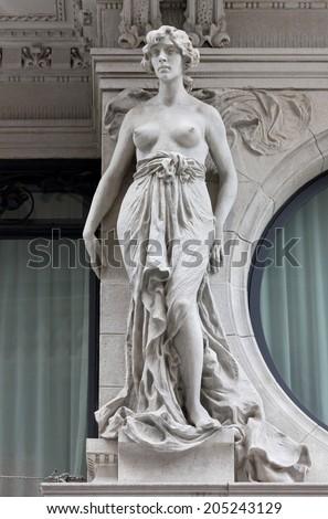 Female Neoclassic Marble Statue - stock photo