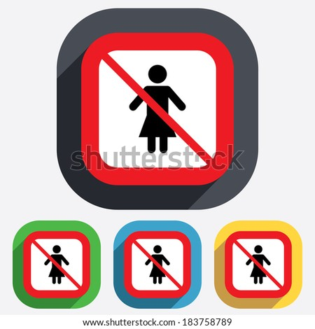 Female not allowed sign icon. No Woman human symbol. Women toilet. Red square prohibition sign. Stop flat symbol. - stock photo