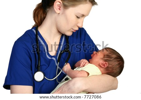 Female nurse consoling a crying newborn baby over white background. - stock photo