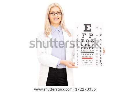 Female optician holding eyesight test, isolated on white background - stock photo