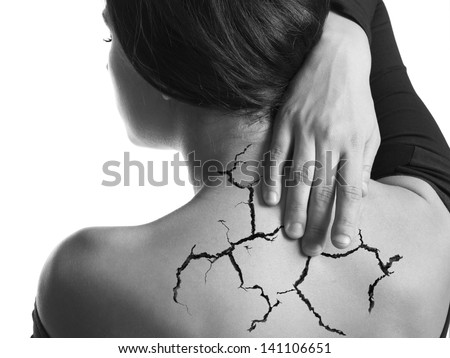Female pain in back concept.White background