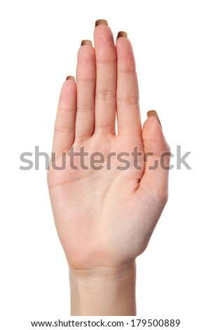 Female palm hand gesture, isolated on a white background - stock photo