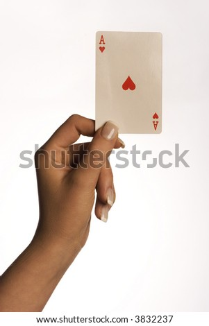 female palm holding a playing card