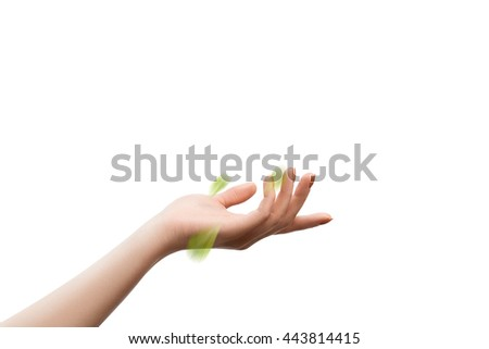 Female palm with flying green leaves on white. Cosmetics mock up concept - stock photo