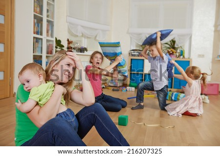 female parent woman frustrated and upset from children behaviour - stock photo