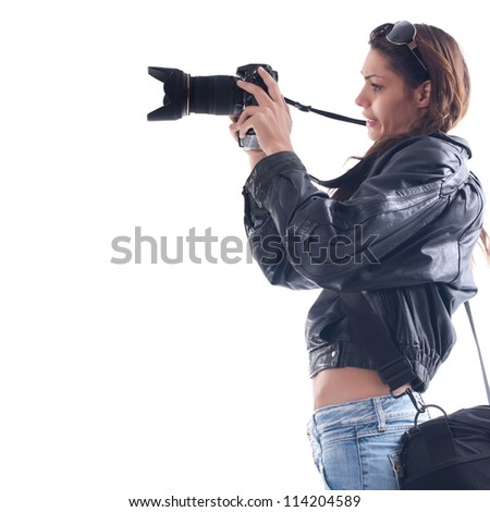 Female photographer with digital camera