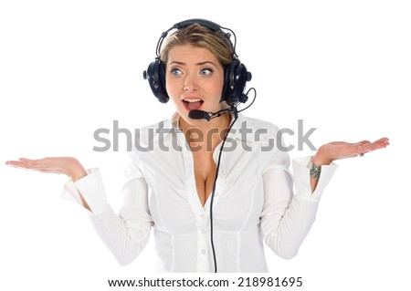 female pilot or air traffic controller confused over a white background - stock photo
