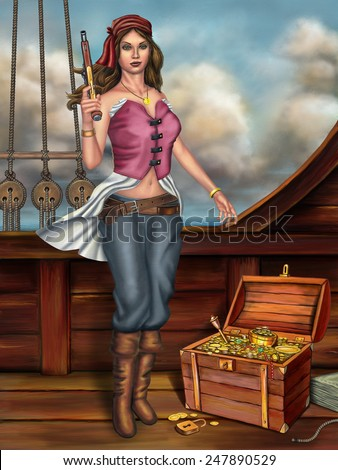Female pirate, holding a gun, stands next to an open treasure chest. Digital painting. - stock photo