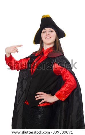 Female pirate in black coat isolated on white - stock photo