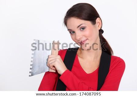 Female plasterer - stock photo