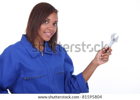 Female plumber - stock photo