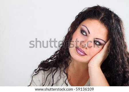female plus size model daydreaming - stock photo