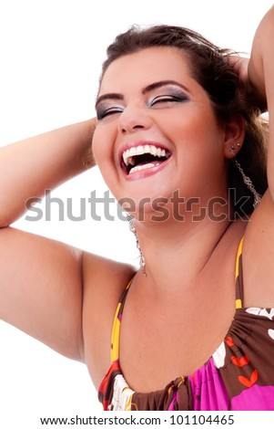 Female Plus size model posing in the studio, face portrait, on white background. The woman is smiling and very happy. Good for concept of health, happiness, dieting, obesity, weight loss. - stock photo
