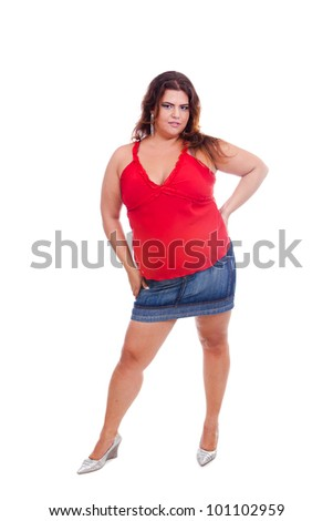 Female Plus size model posing in the studio, full body portrait, isolated on white background. Woman is looking sensual. Good for concept of health, happiness, dieting, obesity, weight loss. - stock photo