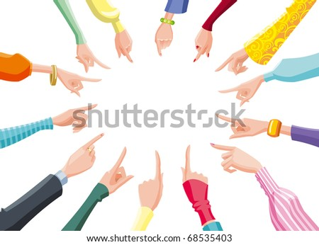 female pointing hands - stock photo