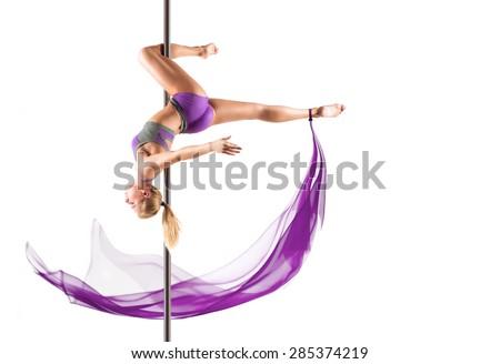 Female Pole dancer, woman dancing on pylon isolated on white background - stock photo