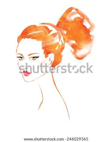 Female portrait. Modern hairstyle. Watercolor fashion illustration. - stock photo