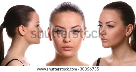 female portrait, reference for sketches and 3D computer designers - stock photo