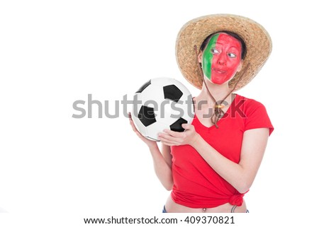 female portuguese painted soccer fan  is looking happy, isolated on white - stock photo