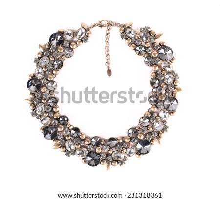 female precious decoration on white background - stock photo