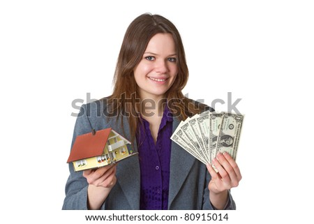 Female real estate agent with model house over white background