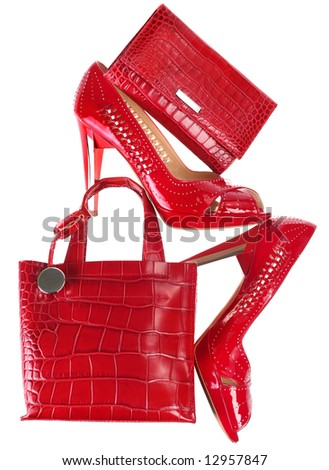 Female red accessory isolated on white background - stock photo
