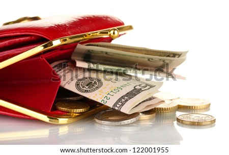 female red wallet with money isolated on white - stock photo
