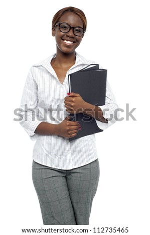 Female representative posing with file folder isolated against white background - stock photo